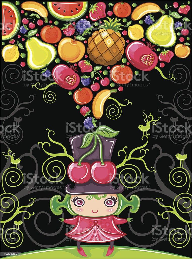 Cherry girl (fruity series) royalty-free stock vector art
