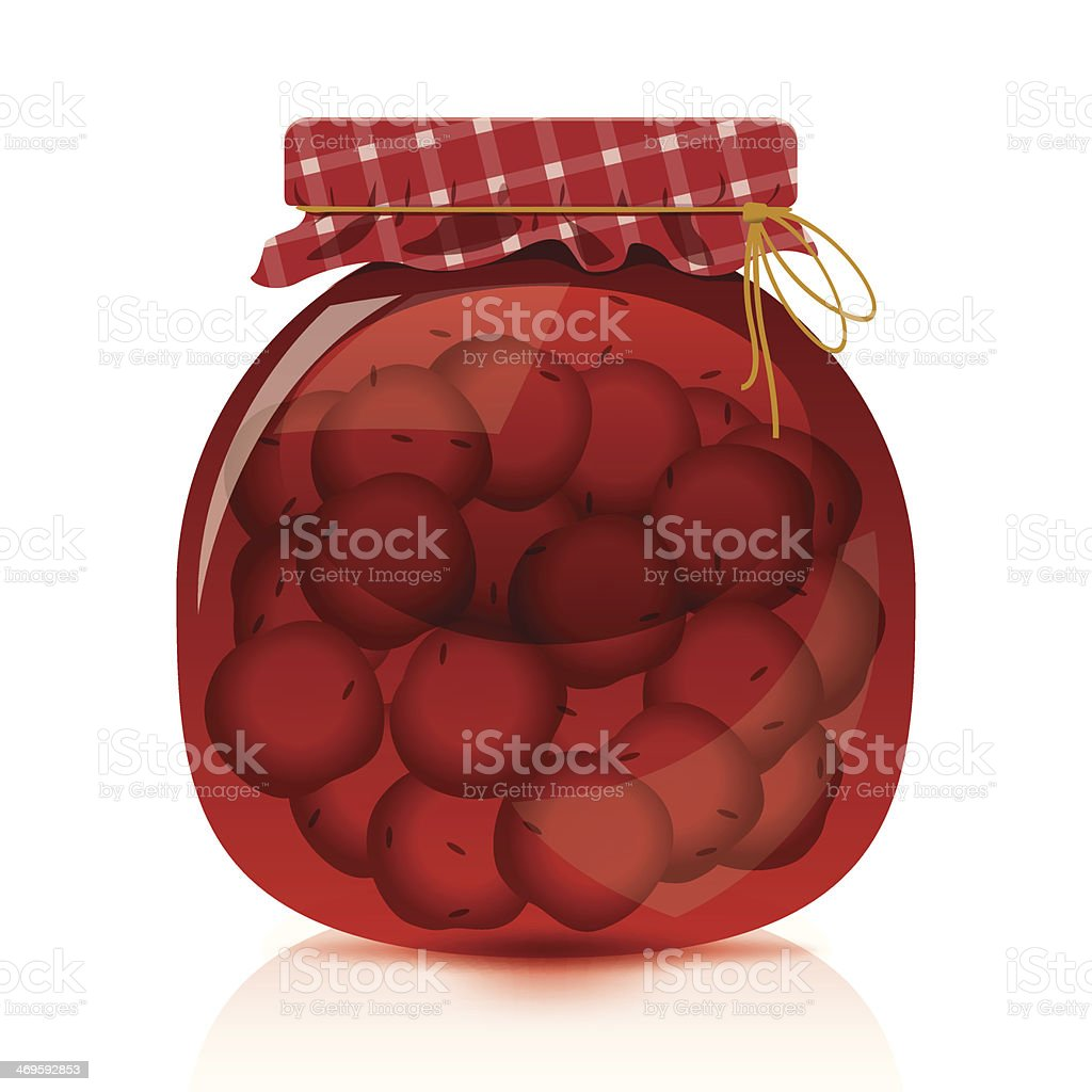 Cherry Jam Jar royalty-free stock vector art