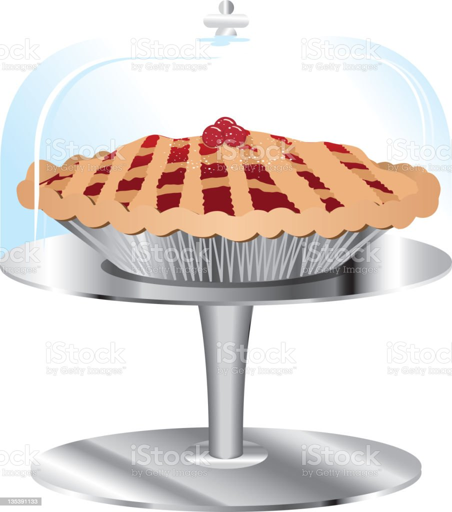 Cherry Pie on stand and glass cover royalty-free stock vector art