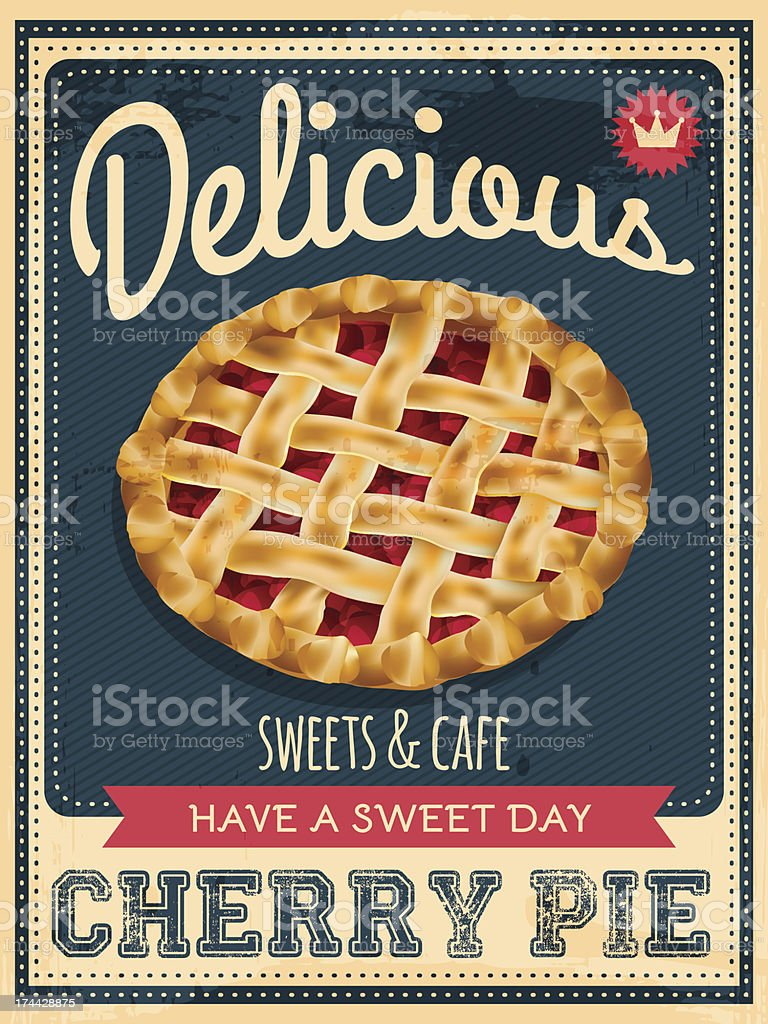 cherry pie poster vector art illustration