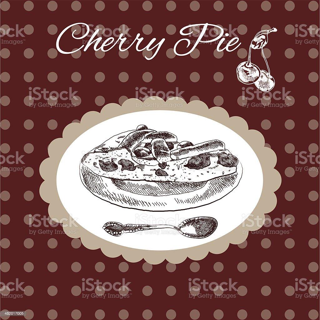 Cherry pie vintage style royalty-free stock vector art