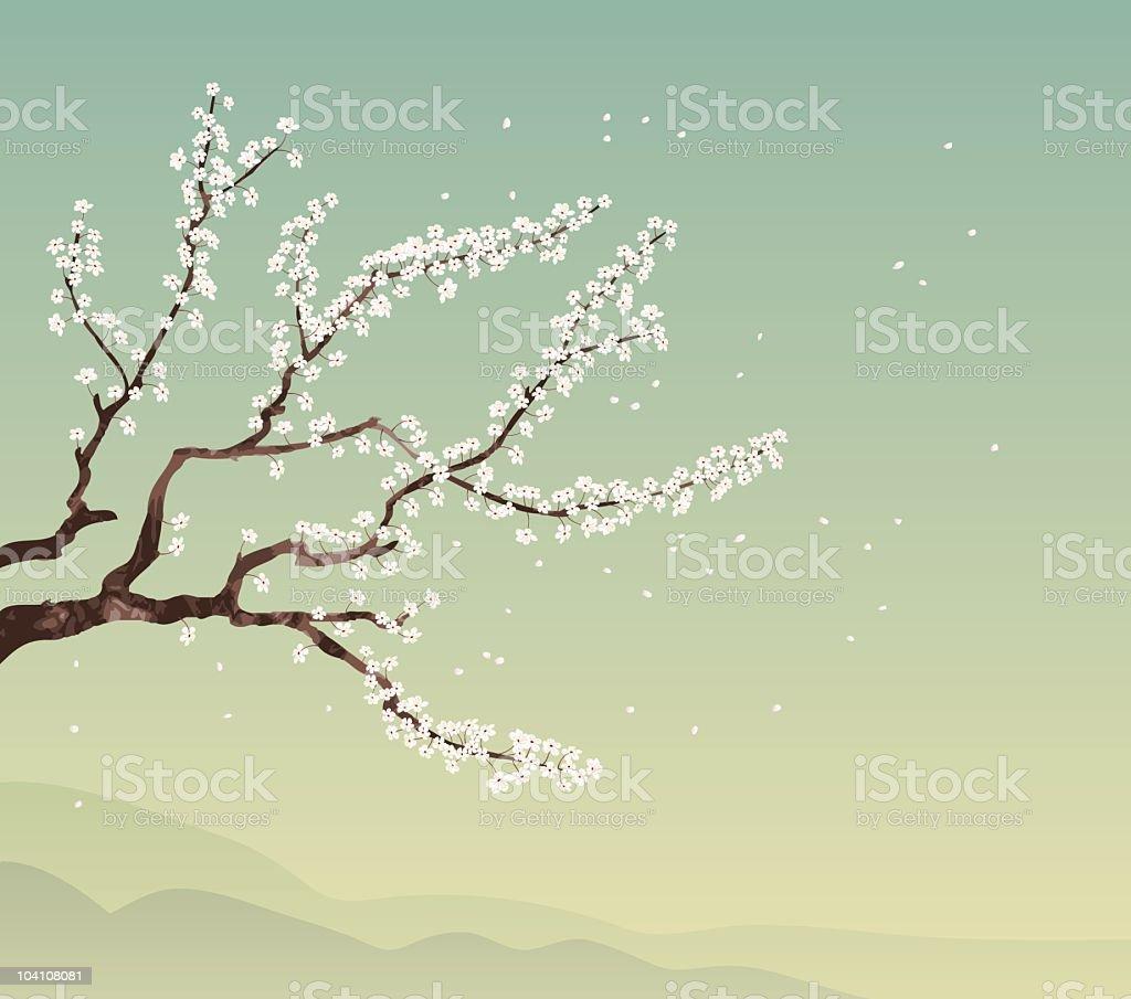 Cherry tree and landscape vector art illustration