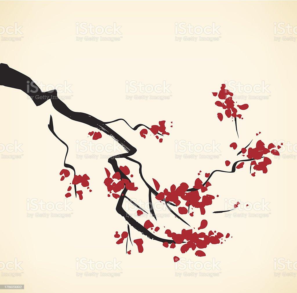 Cherry tree branch royalty-free stock vector art