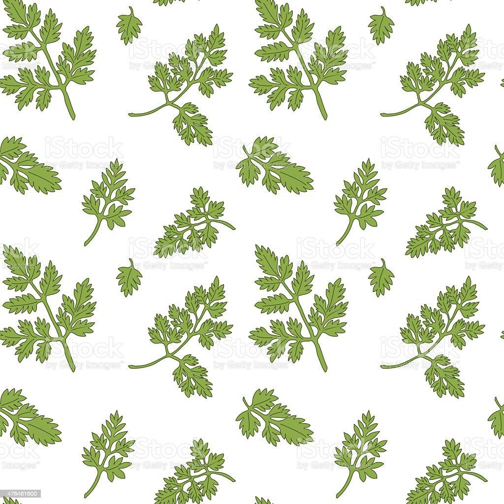 Chervil seamless pattern vector art illustration
