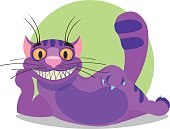 Cheshire Cat. Purple cat with a big smile lays.