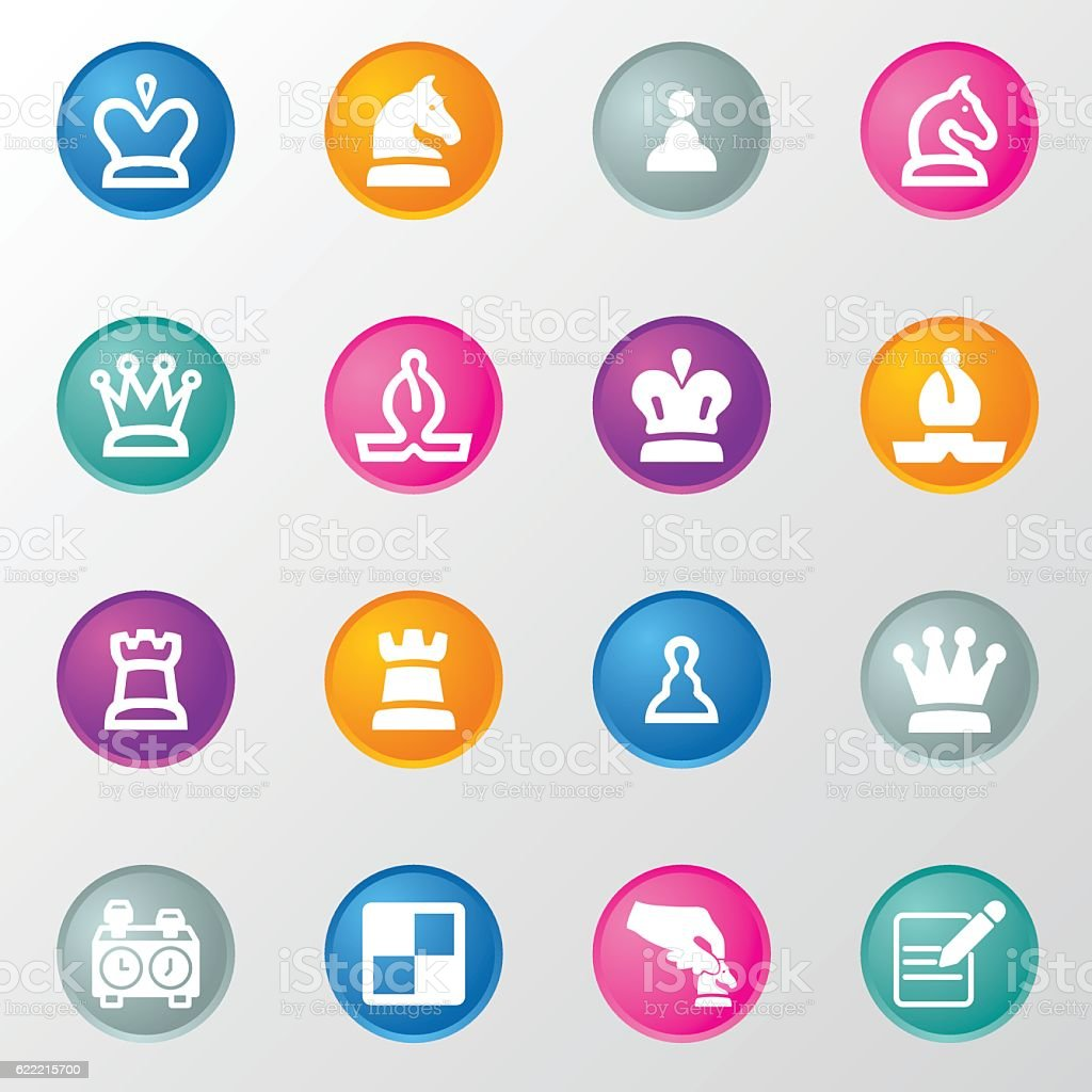 Chess Circle Color Icons vector art illustration