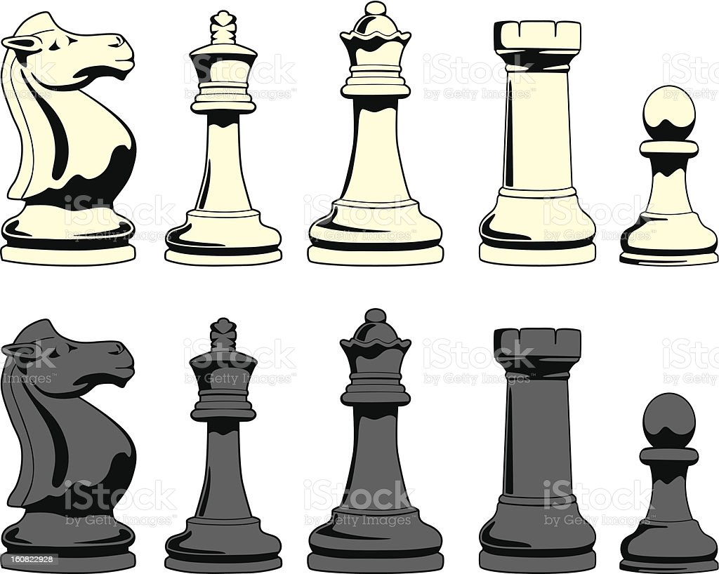 chess figures in black and white royalty-free stock vector art