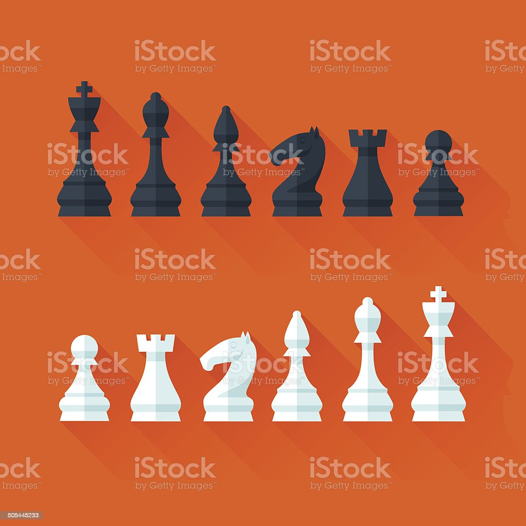 Chess figures set in flat modern style for design concept. vector art illustration