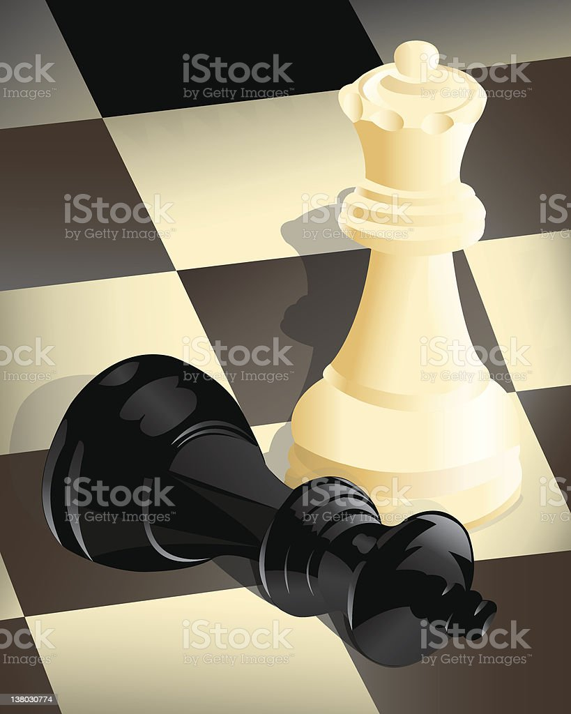 Chess game with black king check mated by white queen vector art illustration