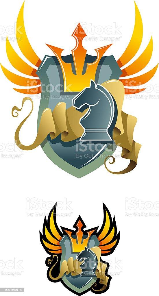 Chess heraldic emblem royalty-free stock vector art