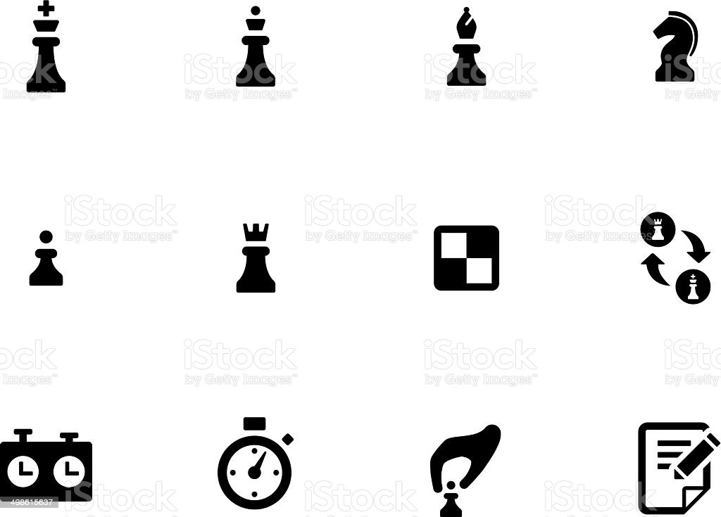 Chess icons on white background. vector art illustration