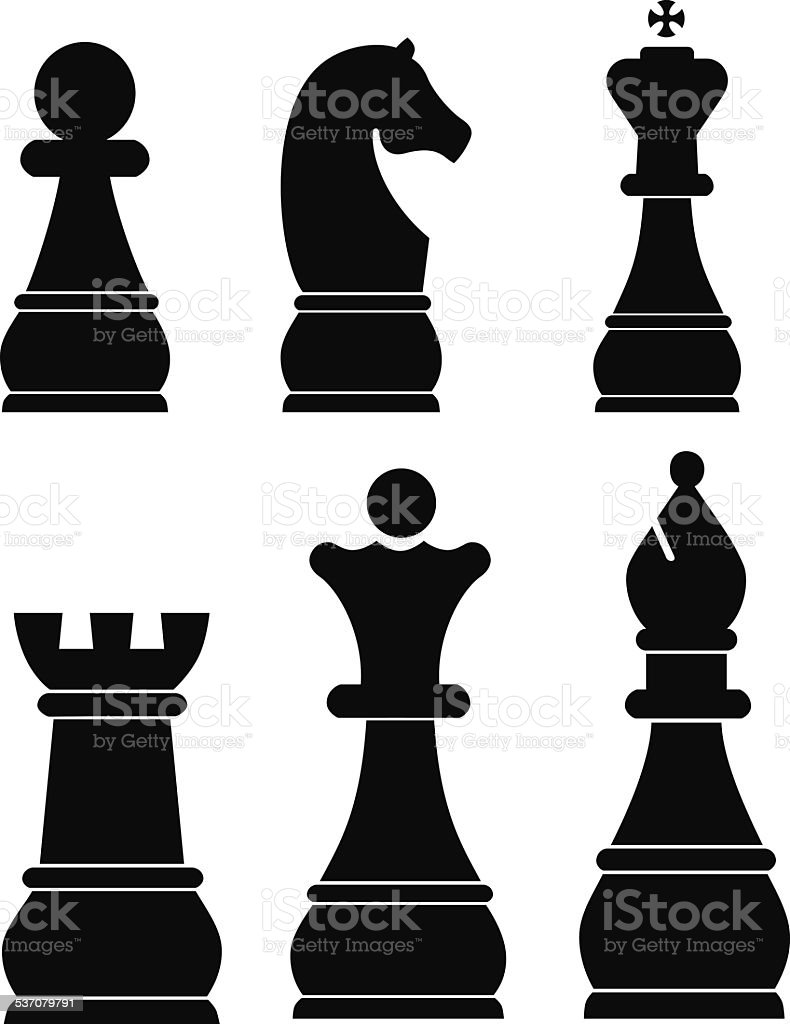 Chess icons set vector art illustration