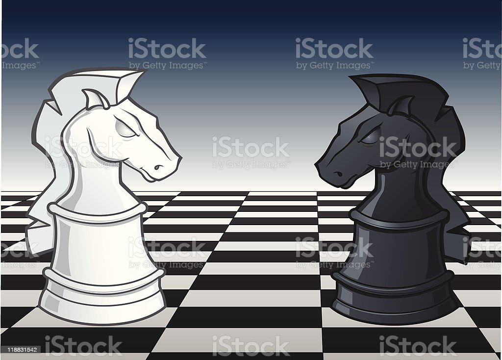 Chess Knight Faceoff - vector illustration royalty-free stock vector art