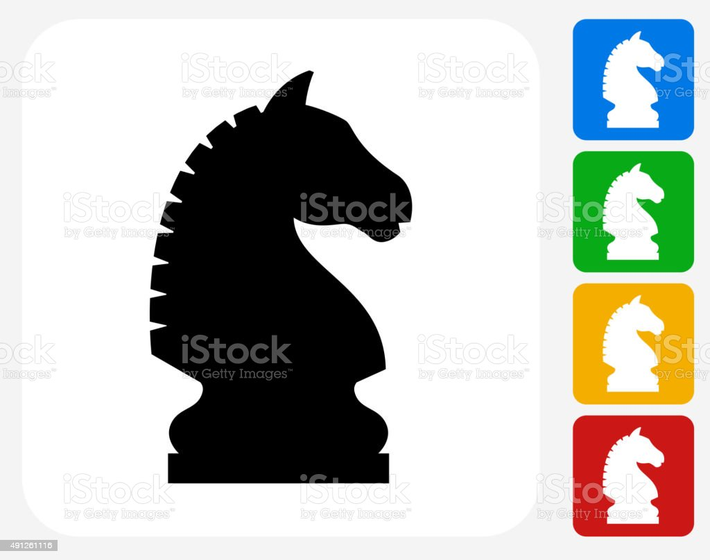 Chess Knight Icon Flat Graphic Design vector art illustration