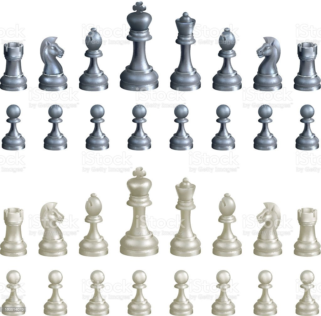 Chess piece set in titanium and pearl isolated on white vector art illustration