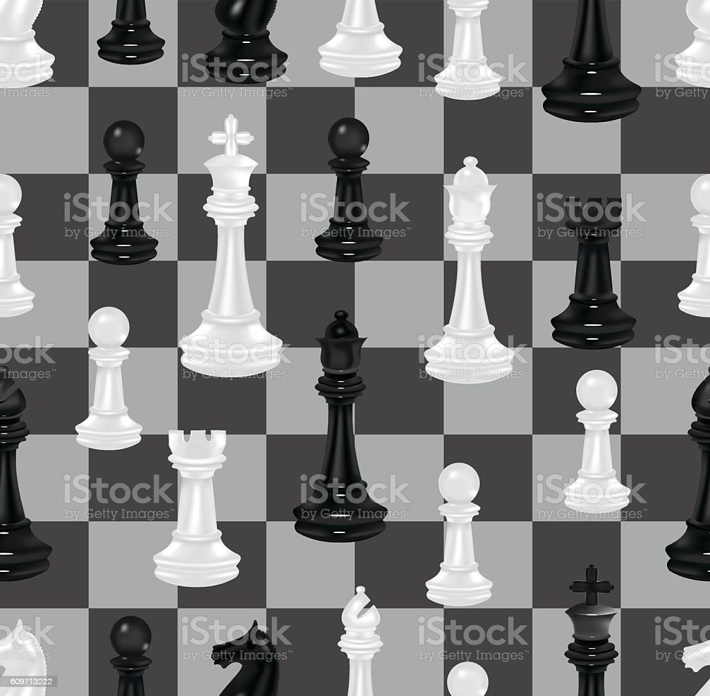 Chess Pieces And Chess Board  Seamless Background vector art illustration