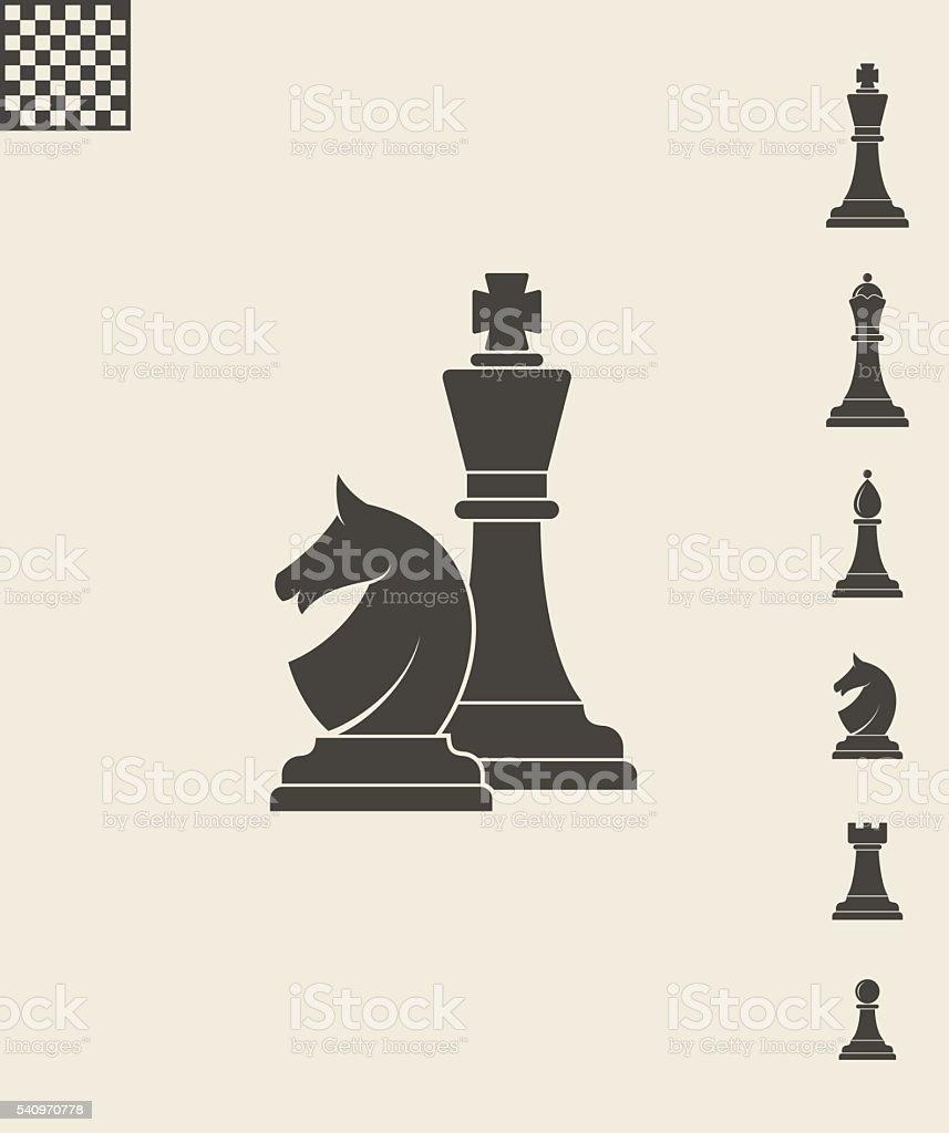 Chess pieces. Icon set vector art illustration