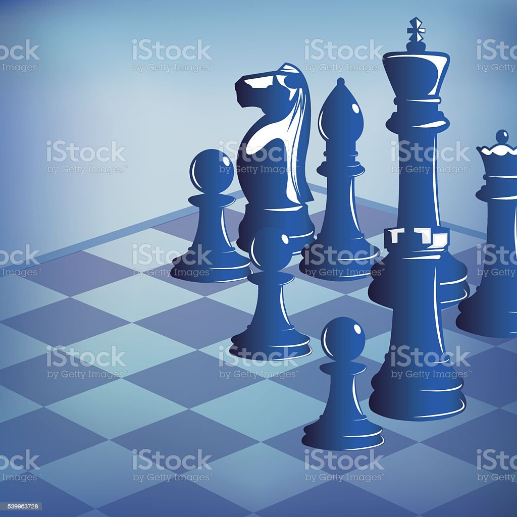Chess pieces on chess board vector art illustration