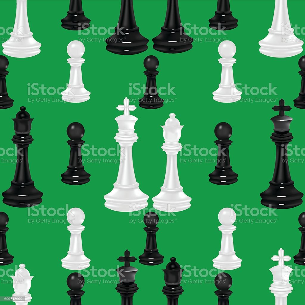 Chess Pieces Seamless Background vector art illustration