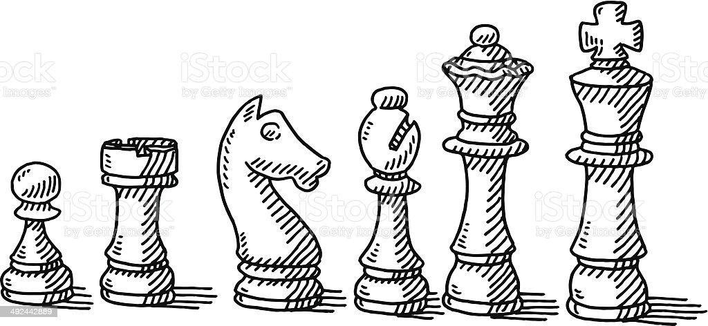 Chess Pieces Set Drawing vector art illustration