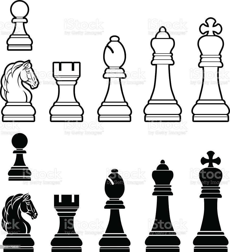 Chess pieces set vector art illustration
