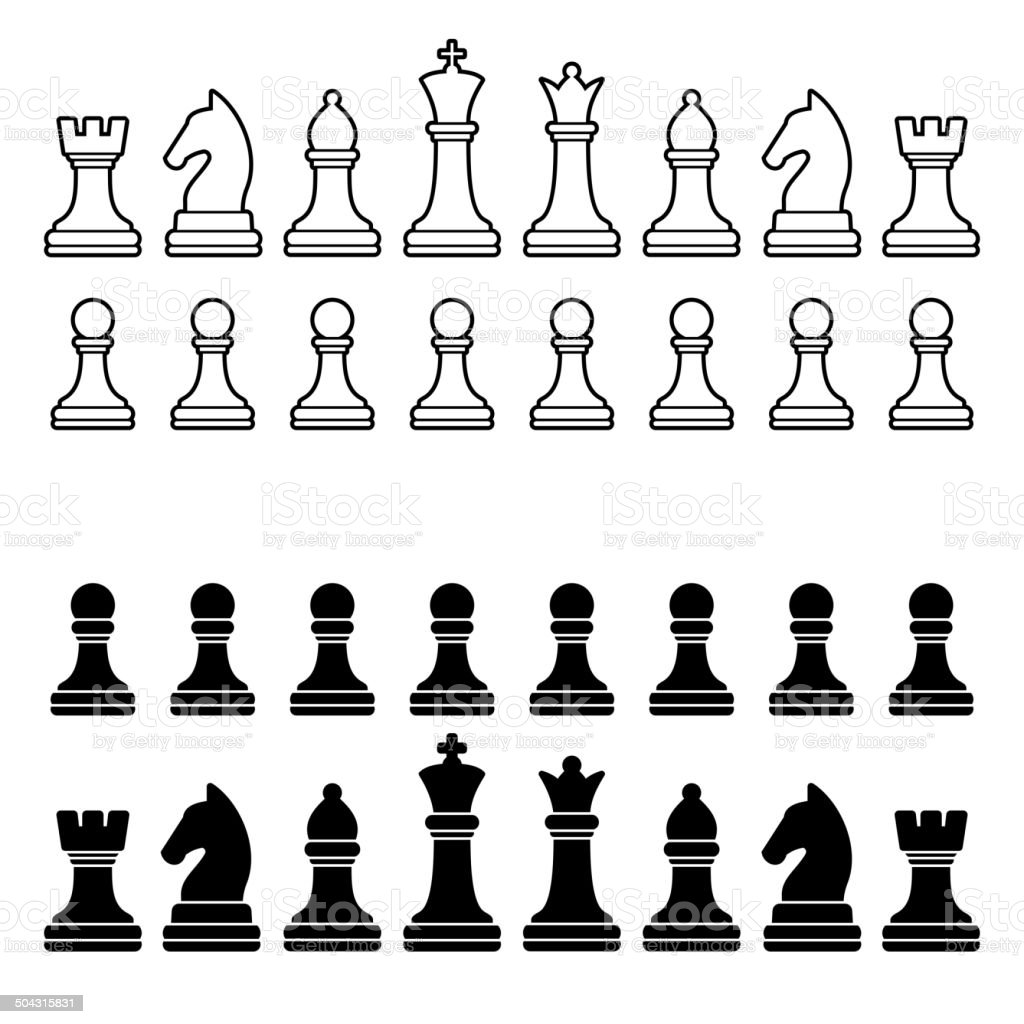 Chess Pieces Silhouette - Black and White Set. Vector vector art illustration