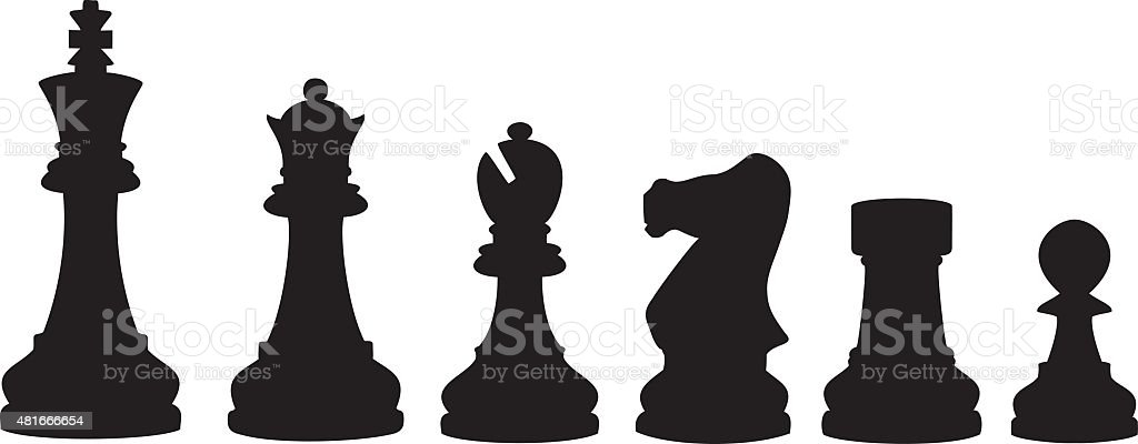 Chess pieces Silhouette vector art illustration