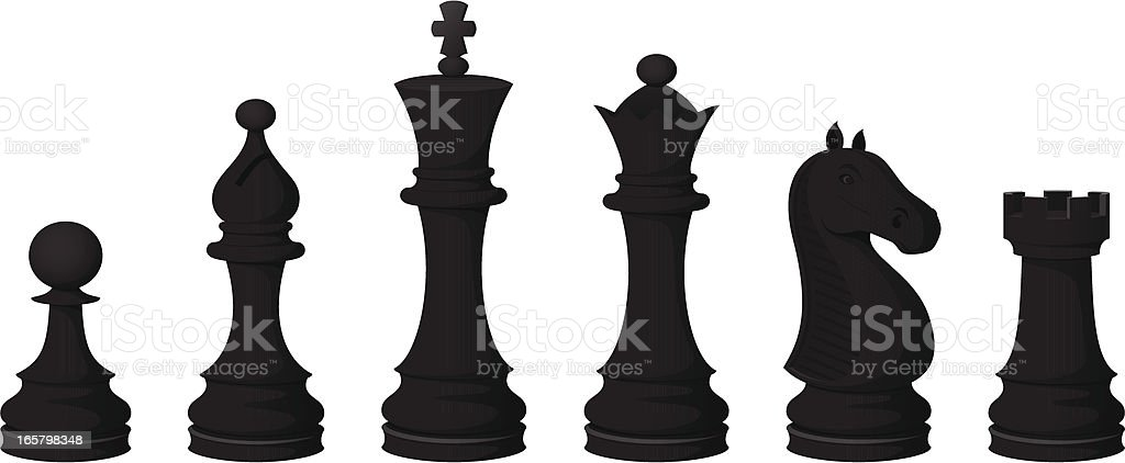 Chess Pieces (black) vector art illustration