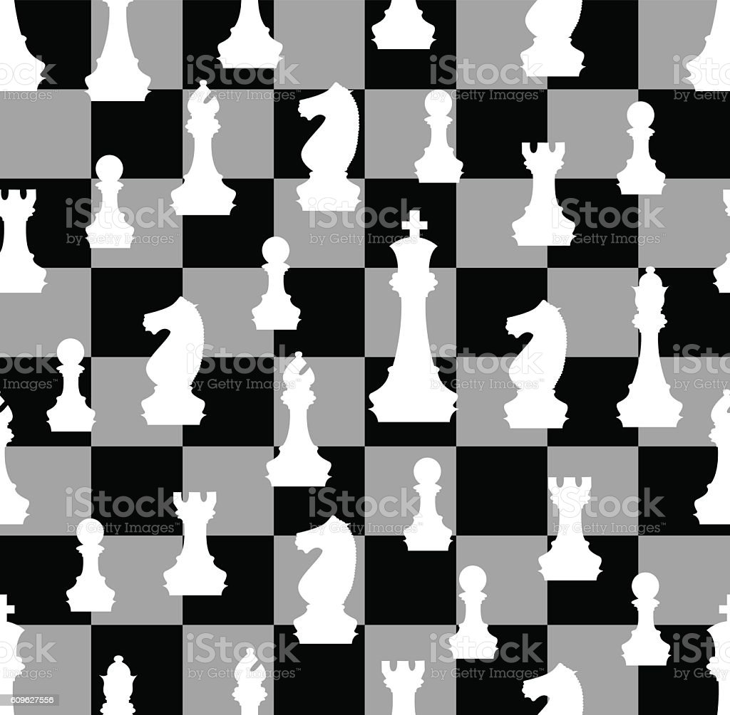 Chess Pieces With Chess Board  seamless background vector art illustration