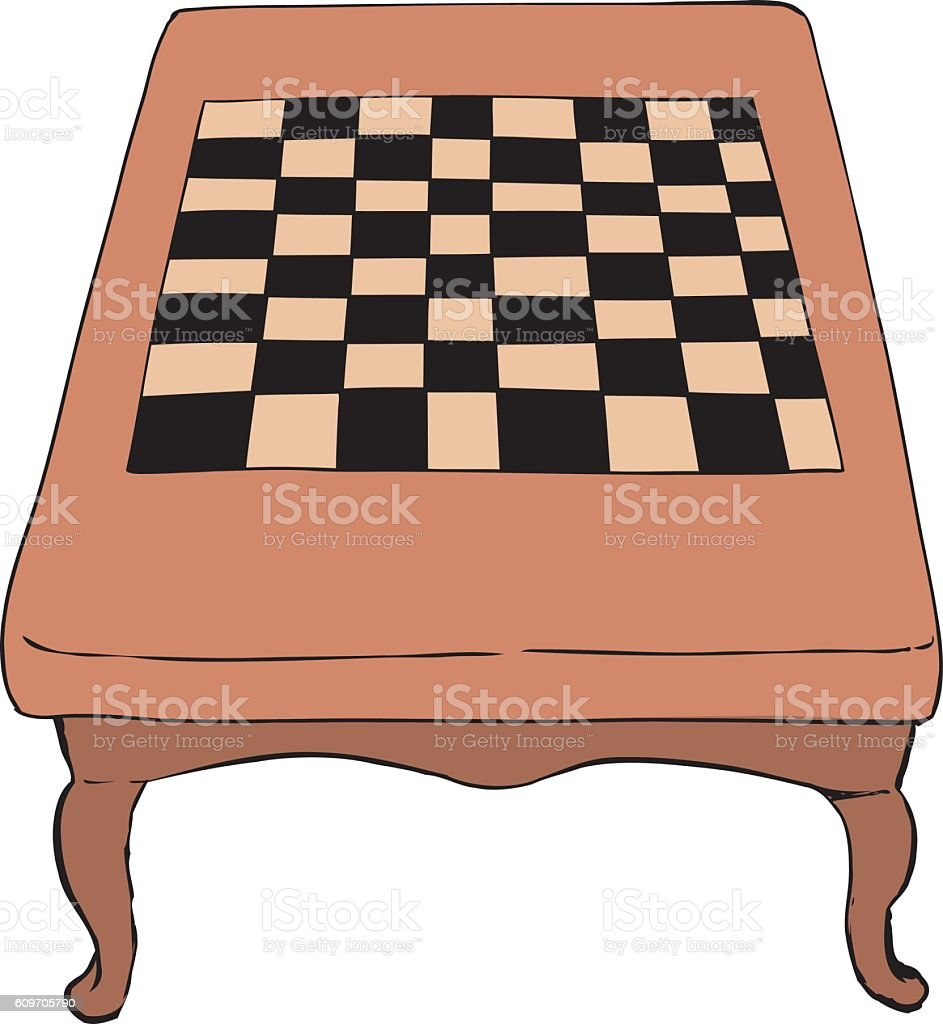 Chess table with short legs vector art illustration