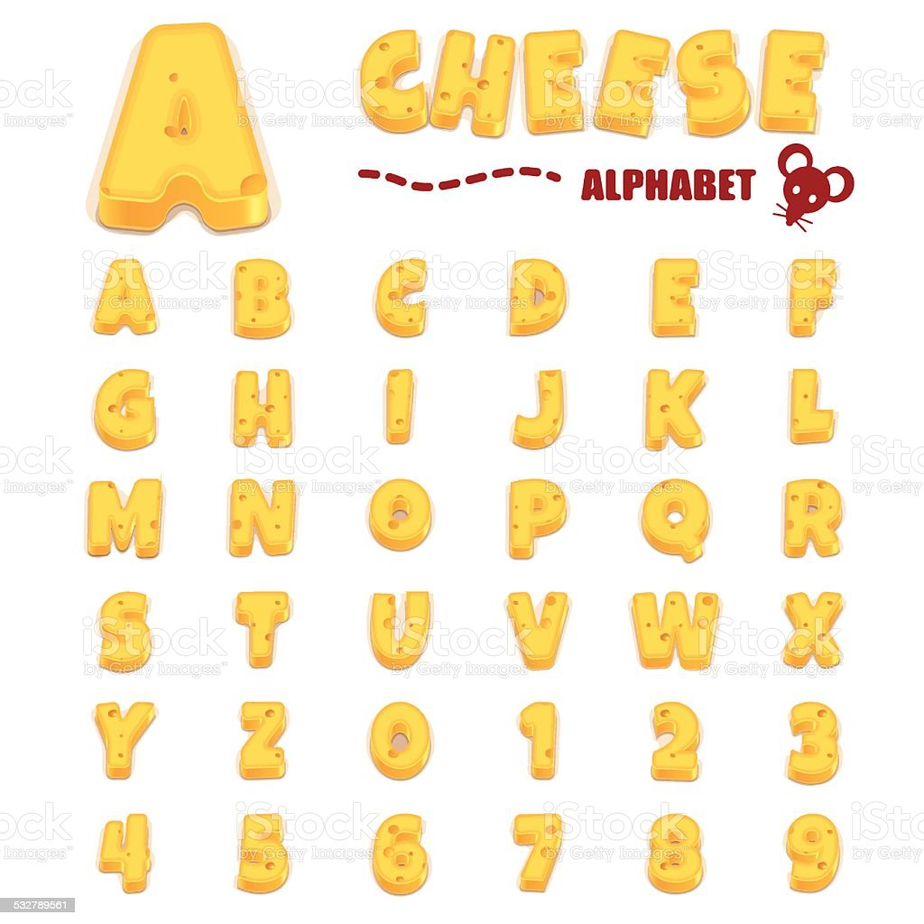 Chesse alphabet vector art illustration