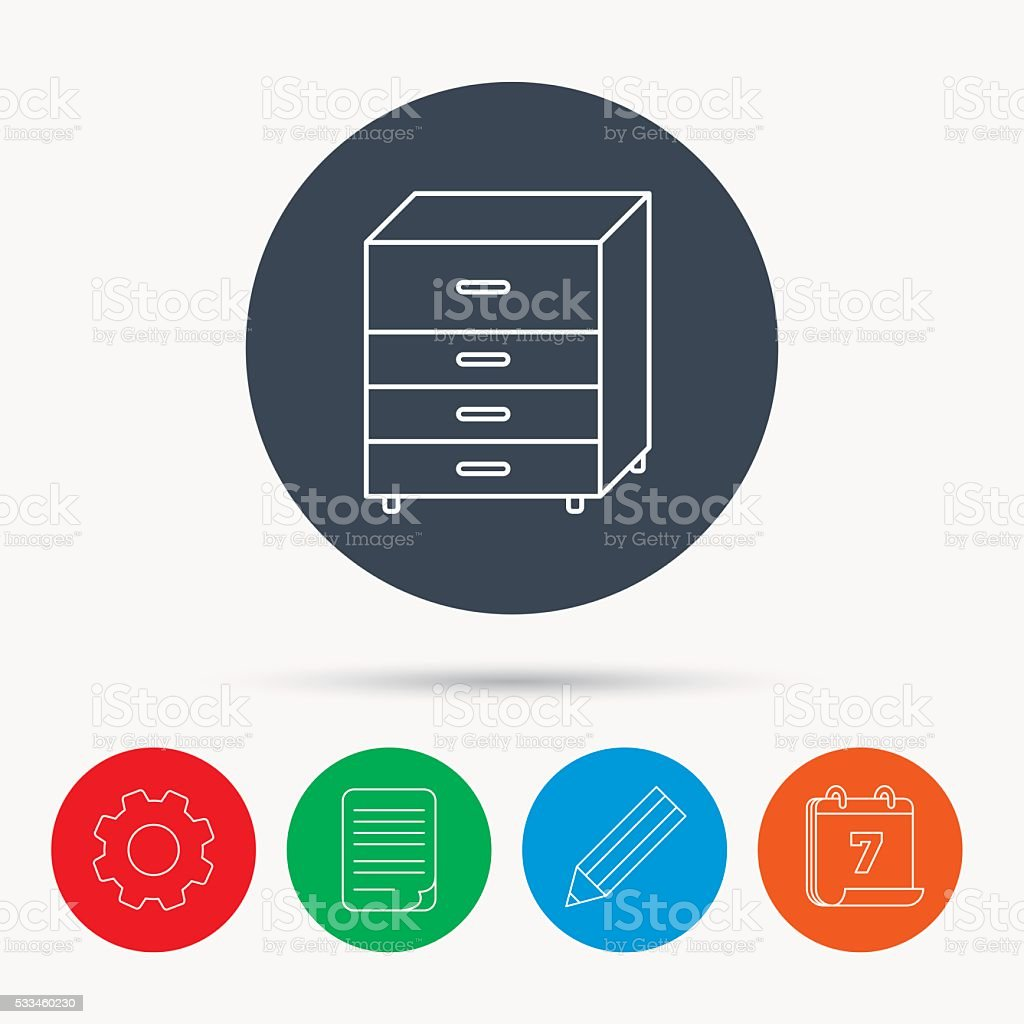 Chest of drawers icon. Interior commode sign. vector art illustration