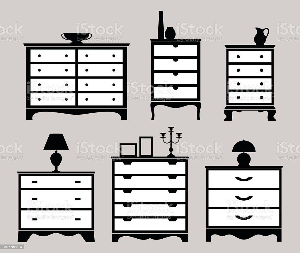 Chest of drawers vector art illustration