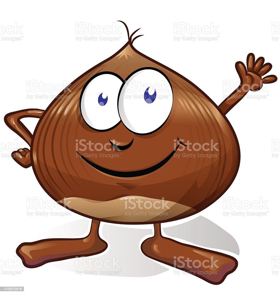 chestnut cartoon isolated on white background vector art illustration
