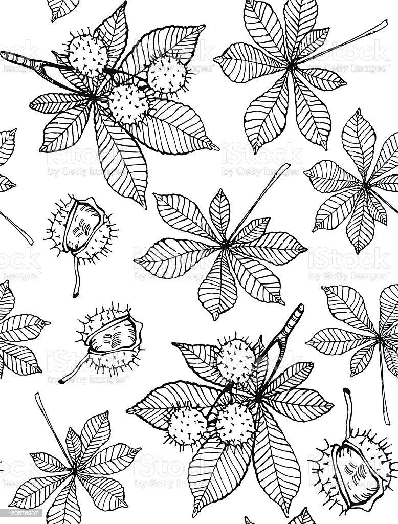 Chestnut seamless pattern vector art illustration
