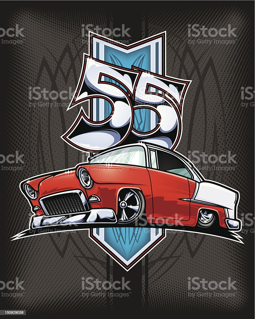 Chevy Bel Air Custom 1955 vector art illustration