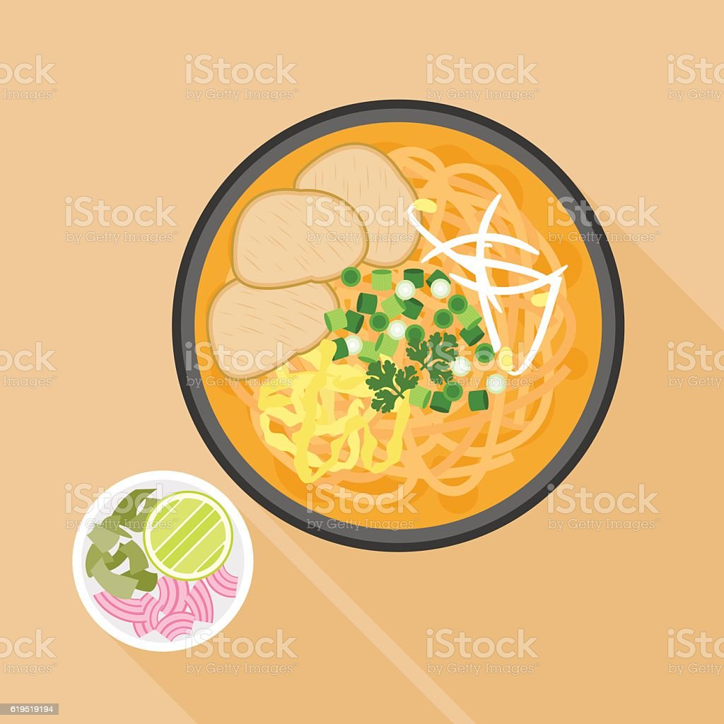 Chiang mai noodle, noodle with chicken in thai local northern style vector art illustration