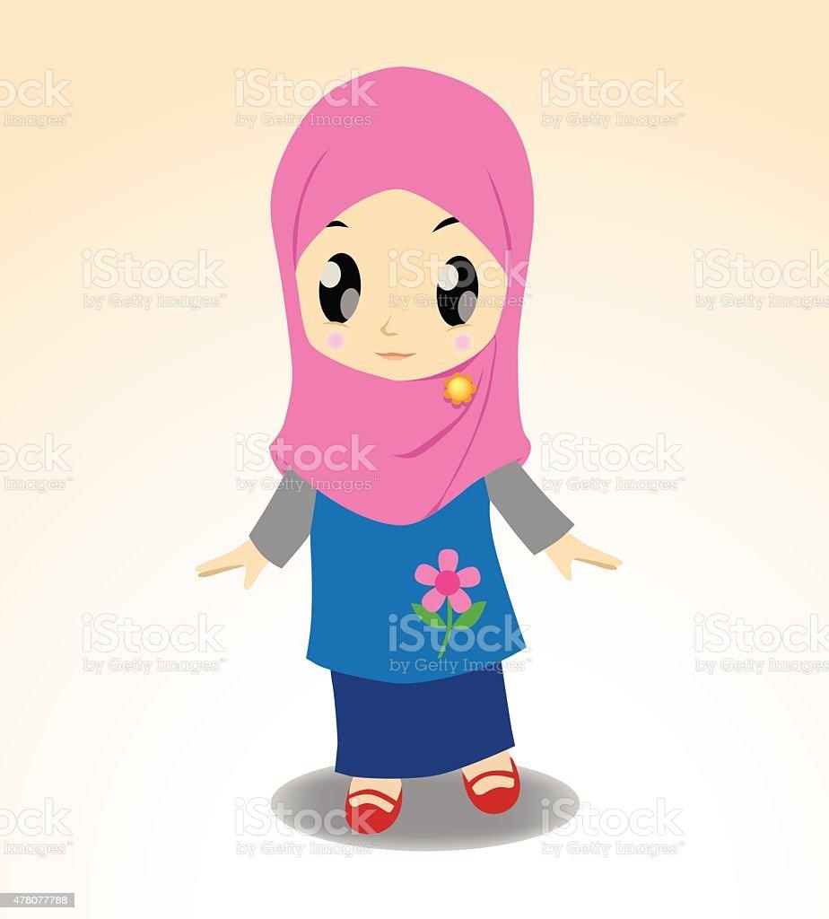 Chibi Hijab vector art illustration