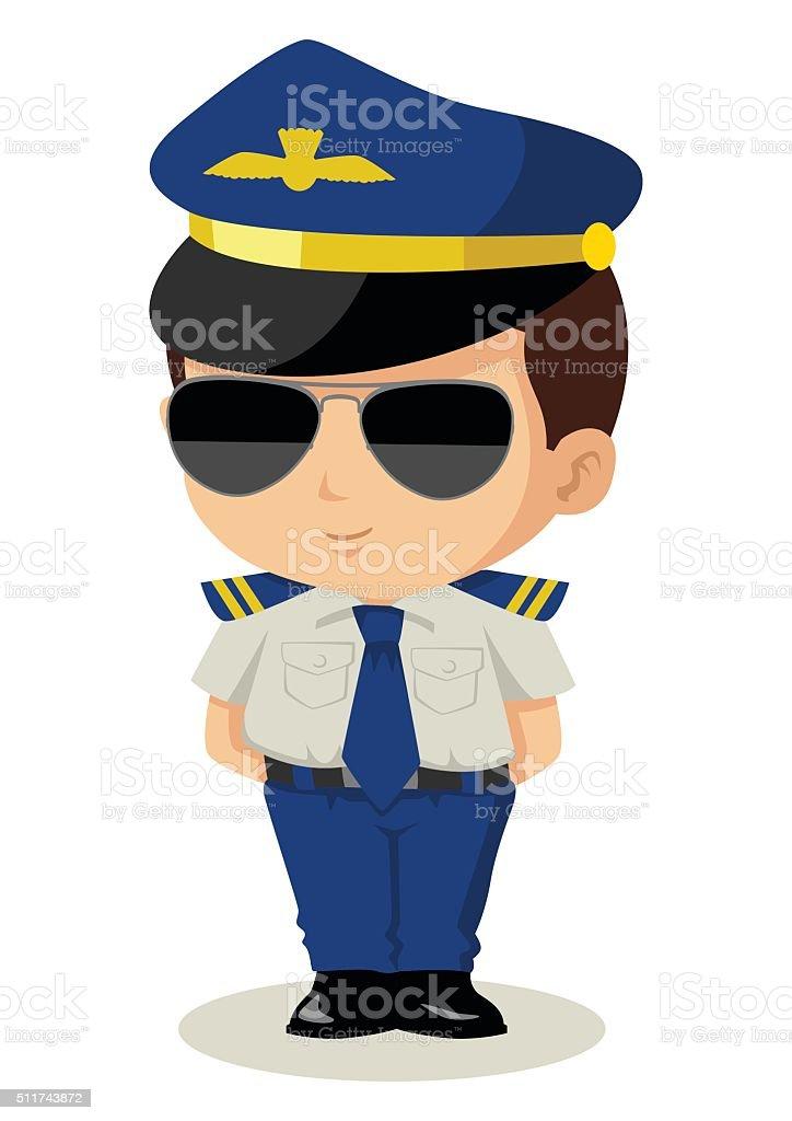 Chibi Pilot vector art illustration