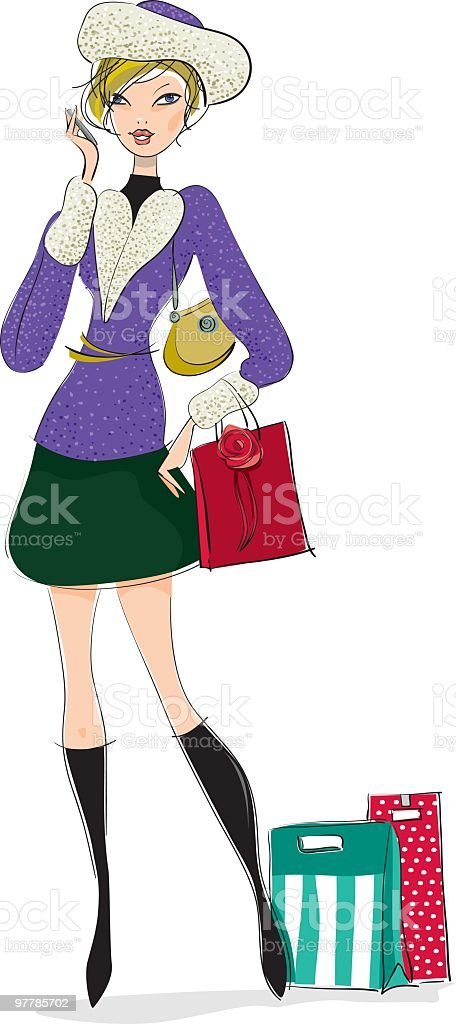 Chic girl on the phone in winter royalty-free stock vector art