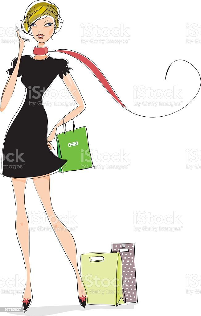 Chic lady on the phone royalty-free stock vector art