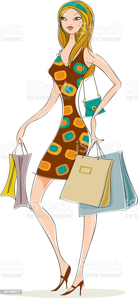 chic lady shopping royalty-free stock vector art