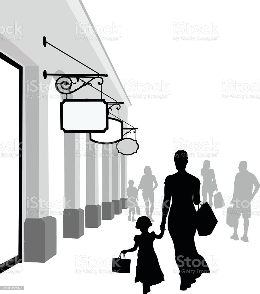 Chic Mom And Girl Shopping vector art illustration