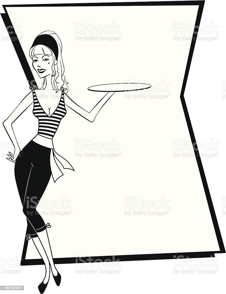 Chic Parisian Waitress vector art illustration