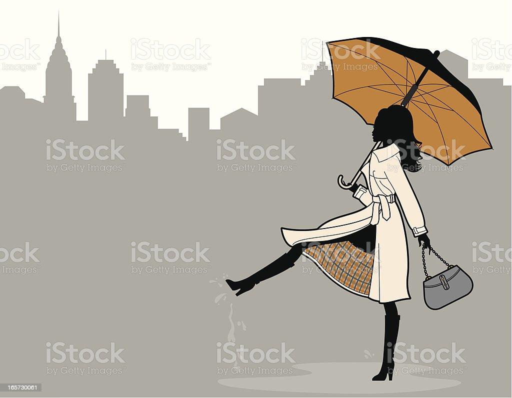 Chic Rainy Day vector art illustration
