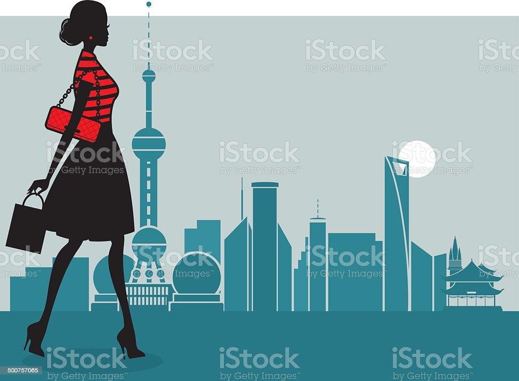 Chic Shanghai Girl vector art illustration