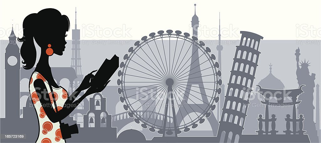 Chic Tourist vector art illustration