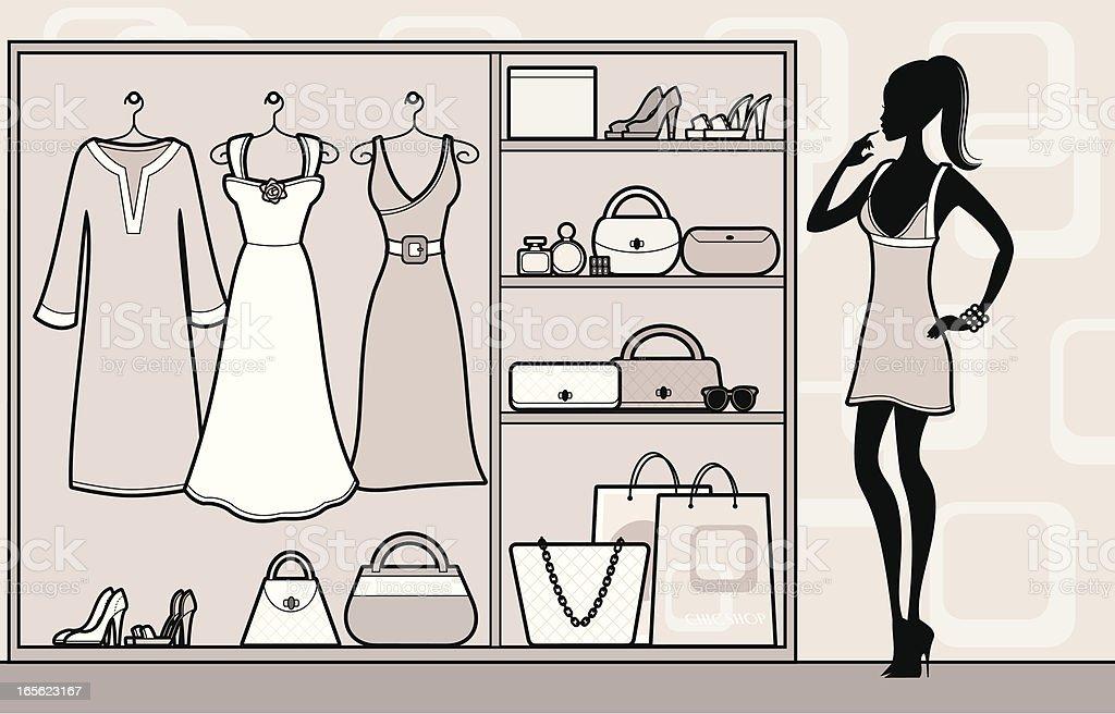 Chic Wardrobe vector art illustration