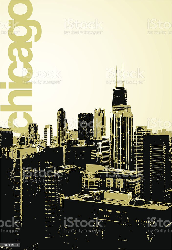 Chicago - alternative skyline vector art illustration