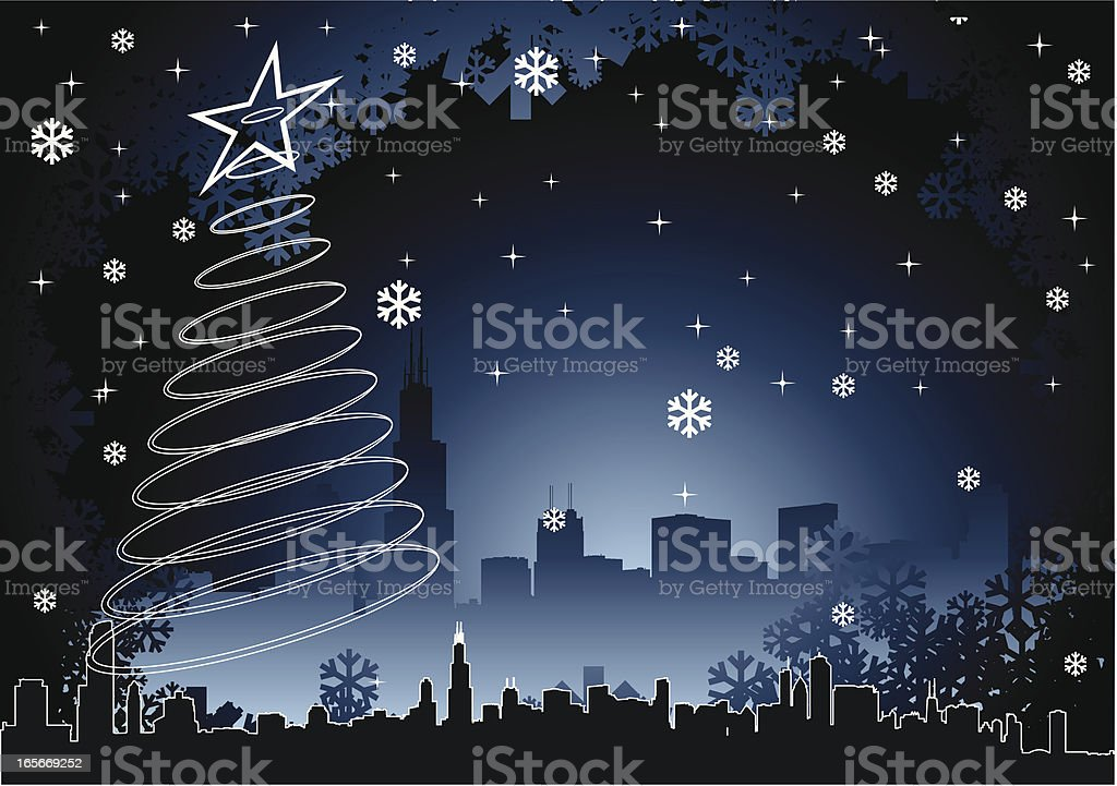 Chicago Christmas Background vector art illustration
